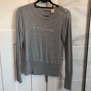 DKNY gray rhinestone logo crewneck sweater